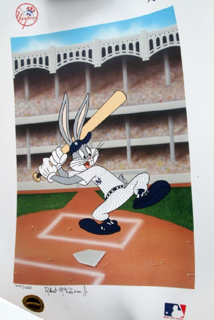 LOONEY TUNES NY YANKEES MCKIMSON SIGNED LITHO