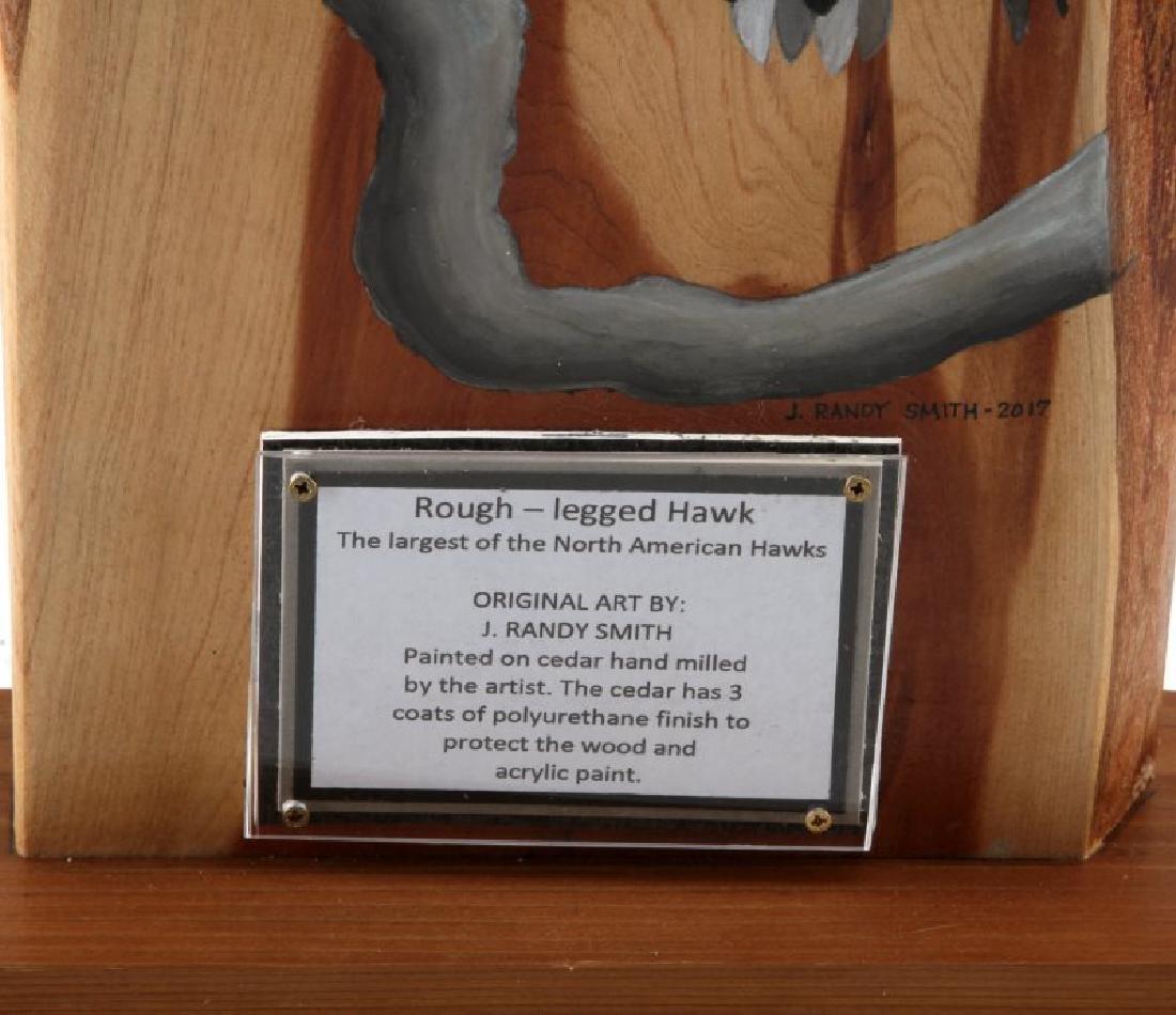 21 INCH ROUGH LEGGED HAWK ON CEDAR ART PIECE - 3