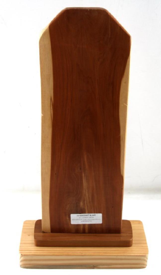 21 INCH ROUGH LEGGED HAWK ON CEDAR ART PIECE - 4