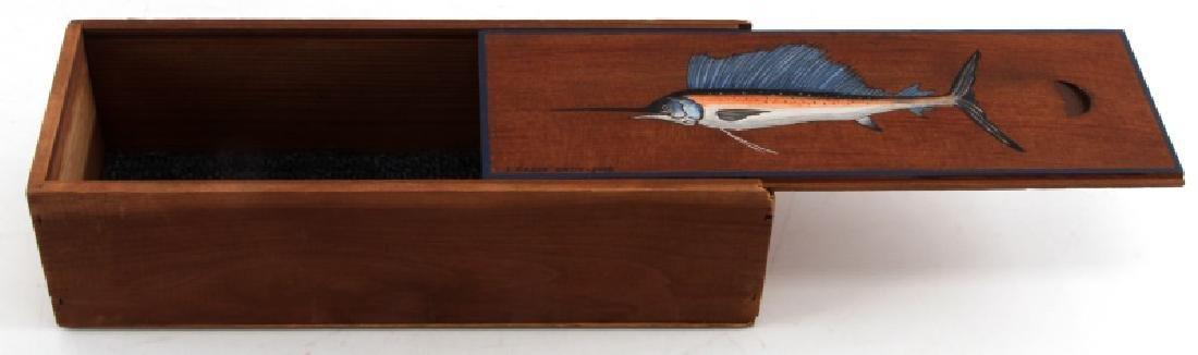 SLIDING LID HANDPAINTED WOODEN WISKEY BOX JR.SMITH - 4