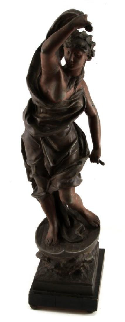 AFTER ROUSSEAU SPELTER STATUE OF WOMAN ON BOAT