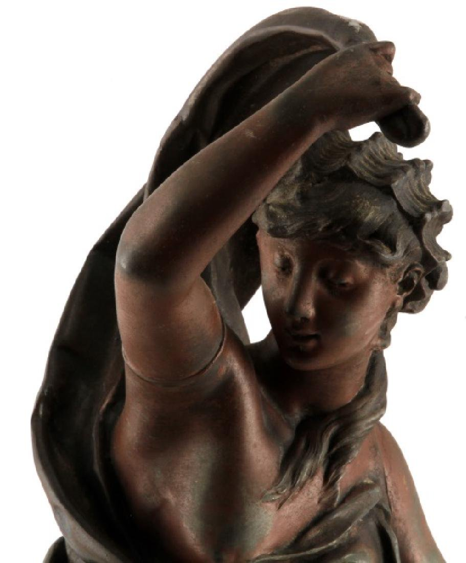 AFTER ROUSSEAU SPELTER STATUE OF WOMAN ON BOAT - 2