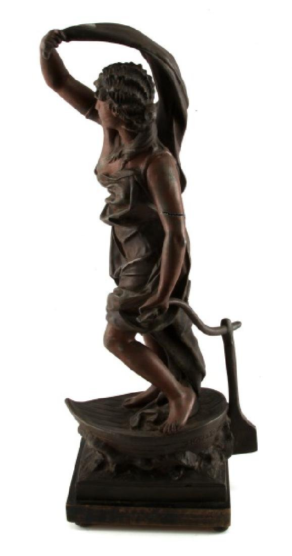 AFTER ROUSSEAU SPELTER STATUE OF WOMAN ON BOAT - 3