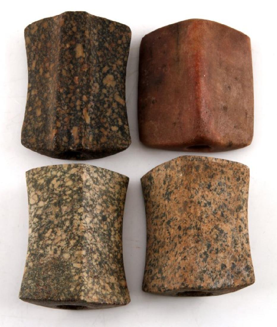 NATIVE AMERICAN CARVED BANNERSTONE LOT OF FOUR