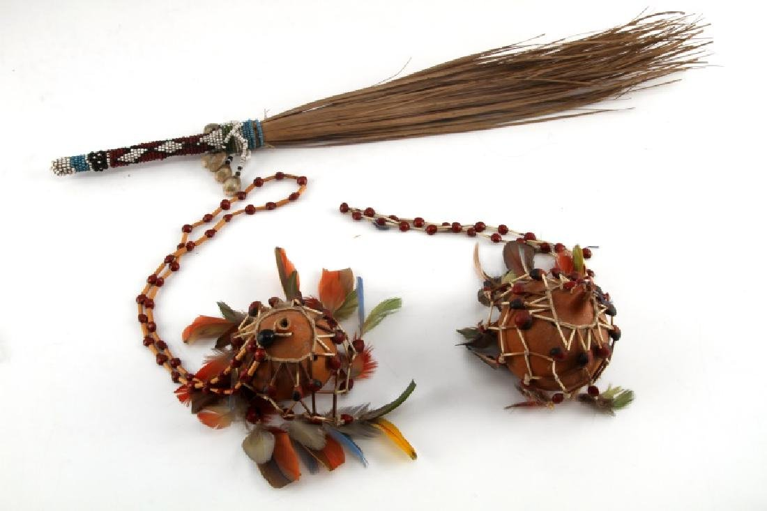 OCEANIA TRIBAL FETISH GOURD AND AFRICAN FLY WHISK