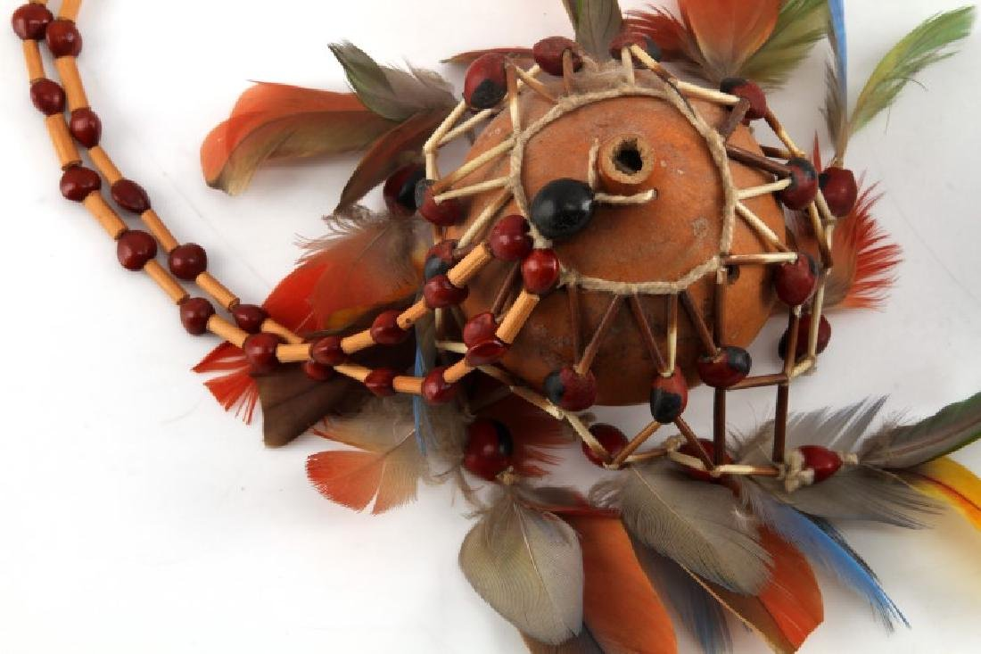 OCEANIA TRIBAL FETISH GOURD AND AFRICAN FLY WHISK - 2