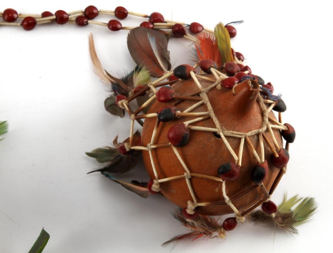 OCEANIA TRIBAL FETISH GOURD AND AFRICAN FLY WHISK - 3