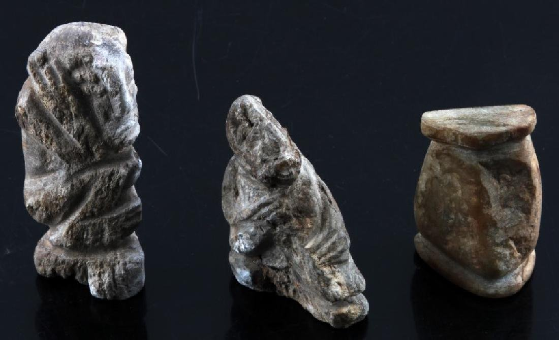 PRE COLUMBIAN STONE CARVING AND HUMAN EFFIGY LOT