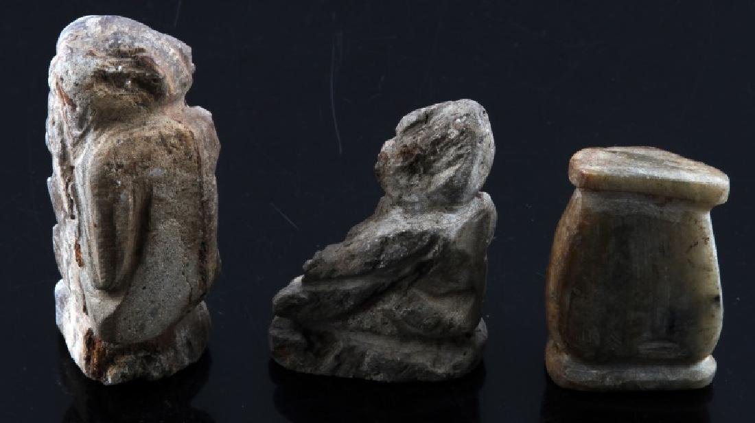 PRE COLUMBIAN STONE CARVING AND HUMAN EFFIGY LOT - 2