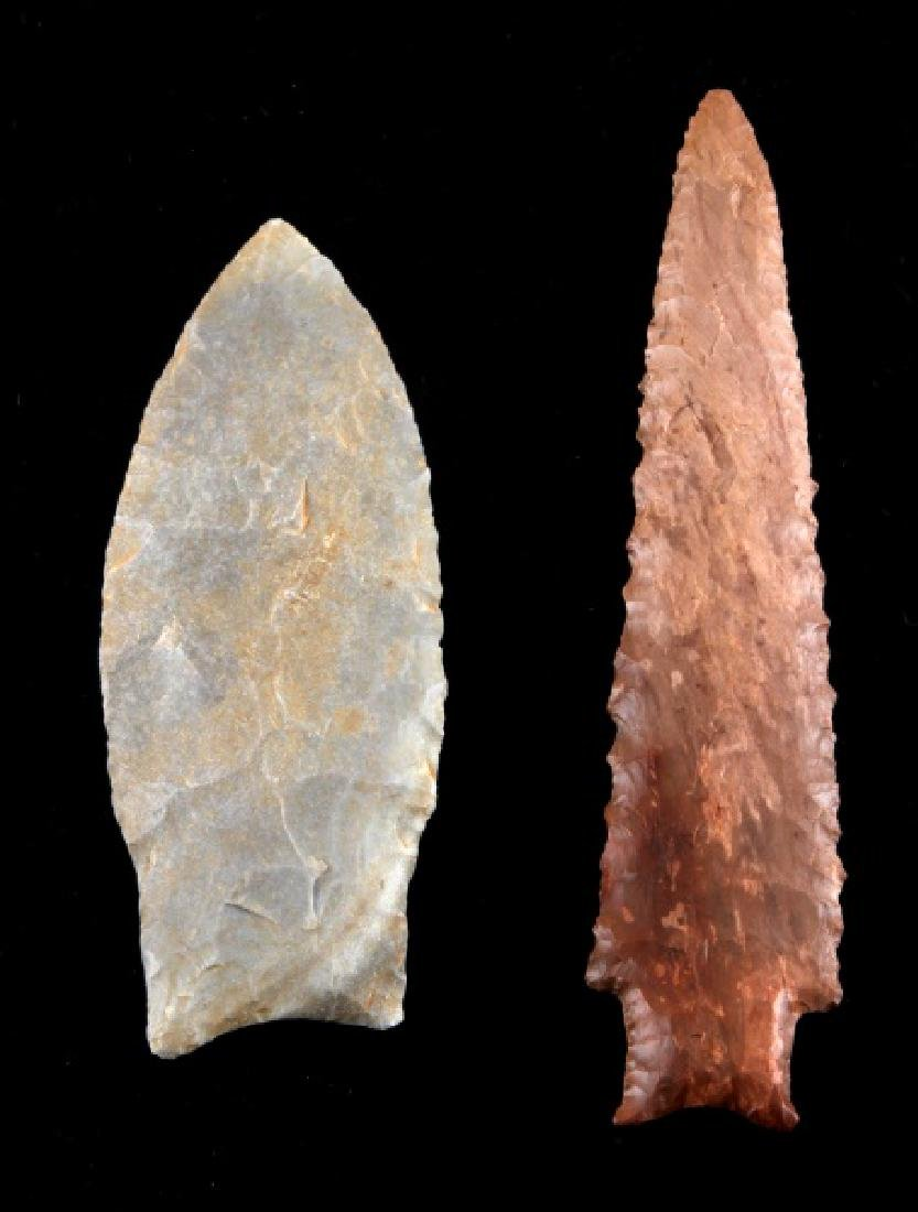 PAIR OF LITHIC LEAF & NEEDLE SHAPE ARROW POINT - 2