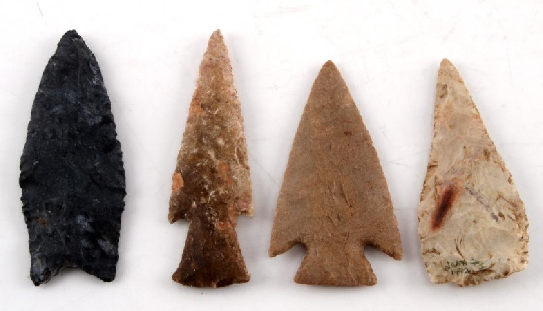 LOT OF 4 ASSORTED NEOLITHIC FLUTED ARROW POINT