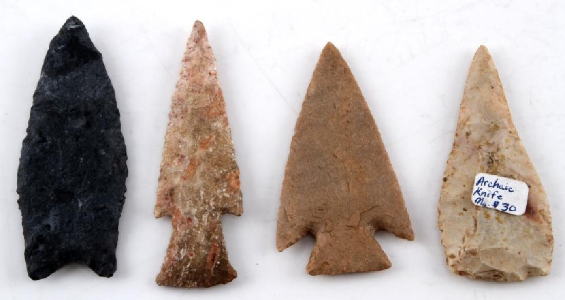 LOT OF 4 ASSORTED NEOLITHIC FLUTED ARROW POINT - 2