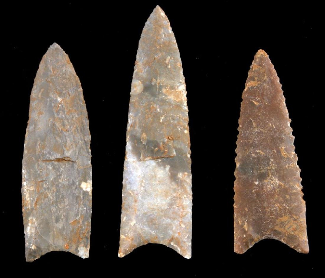 LOT 3 FLUTED SERRATED ARCHAIC LITHIC ARROW POINT