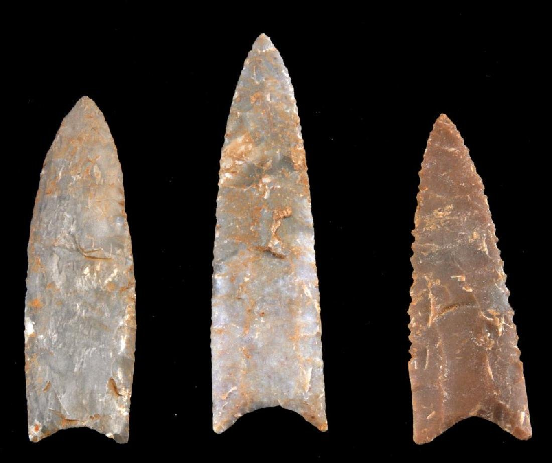LOT 3 FLUTED SERRATED ARCHAIC LITHIC ARROW POINT - 2