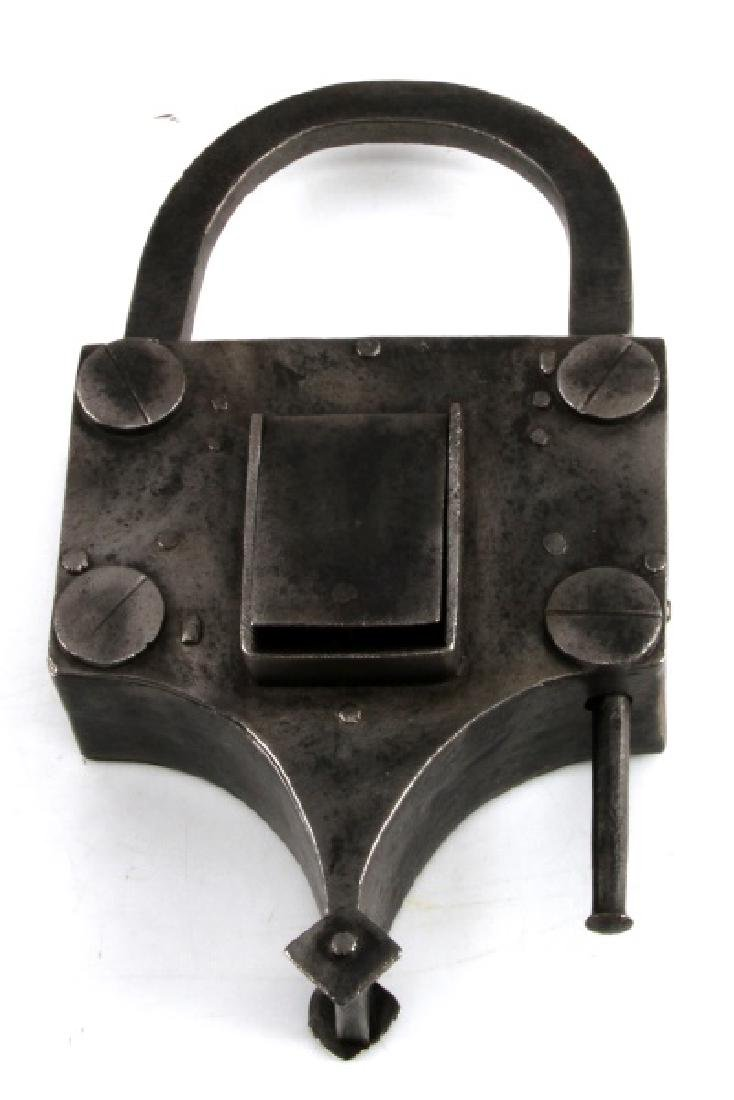 ANTIQUE LARGE METAL JAIL PRISON OR DOOR LOCK