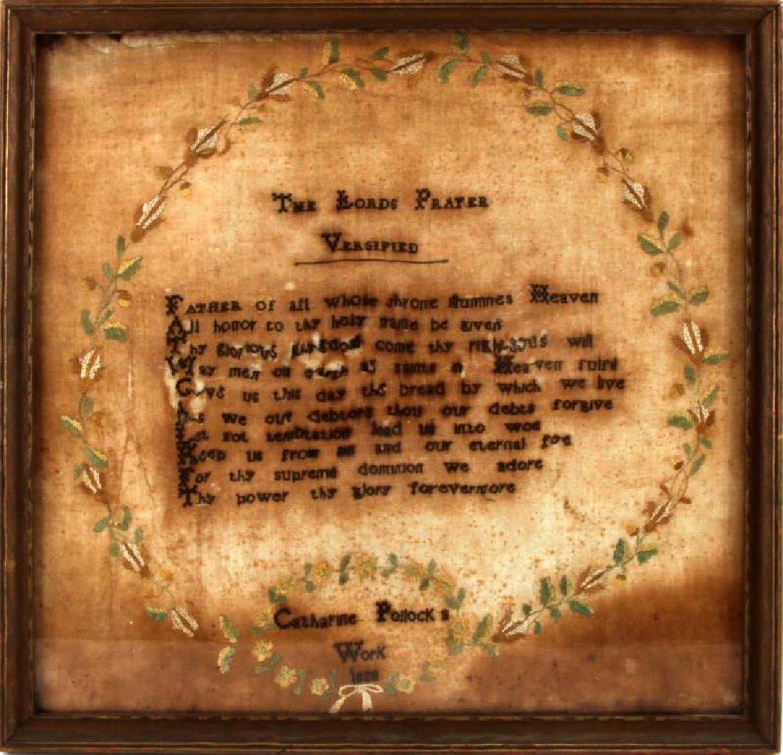1820 NEEDLEPOINT EMBROIDERY THE LORDS PRAYER