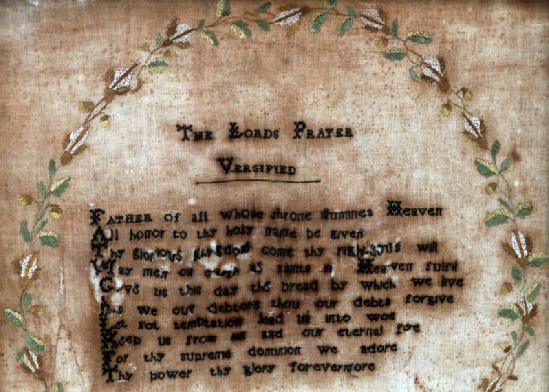1820 NEEDLEPOINT EMBROIDERY THE LORDS PRAYER - 2
