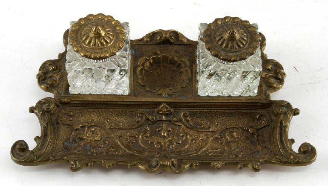 ANTIQUE AMERICAN BRASS & CRYSTAL INKWELL BY VM