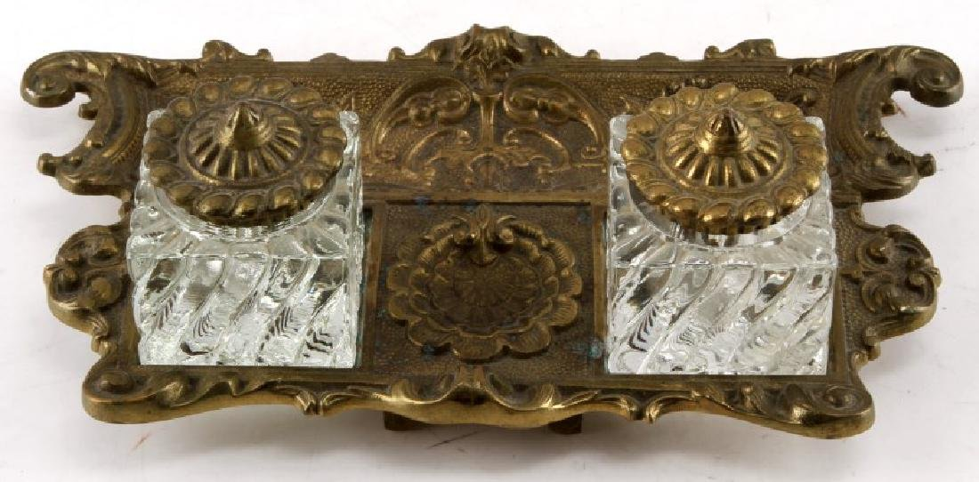 ANTIQUE AMERICAN BRASS & CRYSTAL INKWELL BY VM - 2