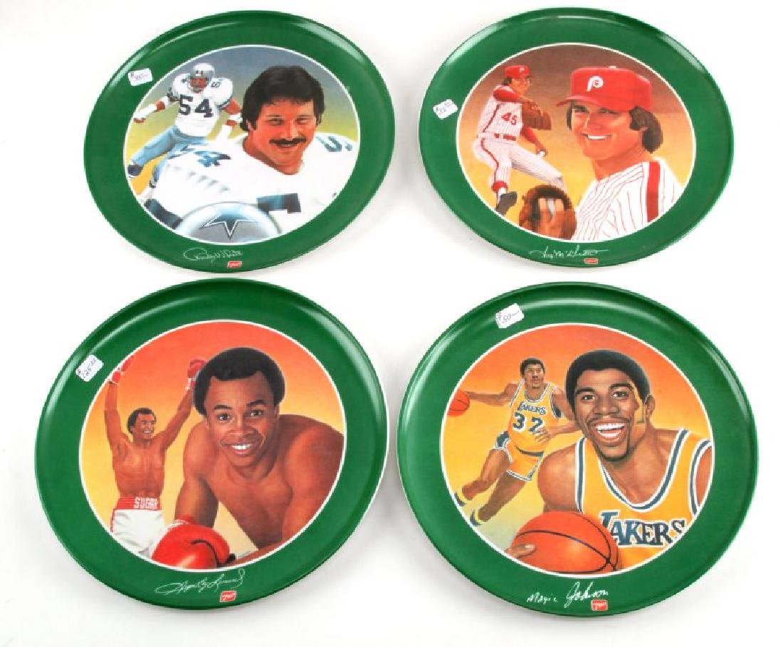 LOT OF 4 GREATEST ATHLETES OF ALL TIME 7 UP PLATES