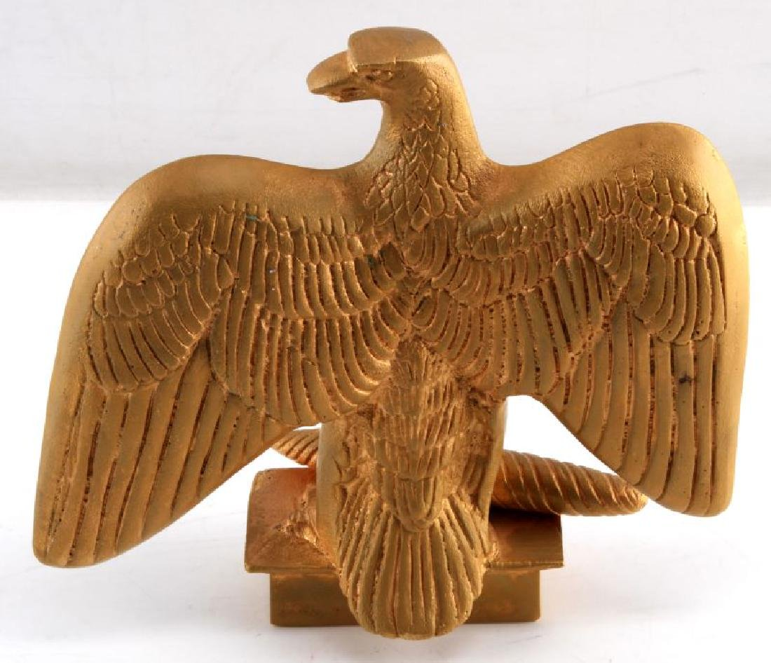 8 INCH GILT METAL FLAG FEDERAL EAGLE FINIAL TOPPER - 2