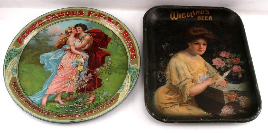 1895 TO 1910 TIN LITHO BEER ADVERTISING PLATE SIGN