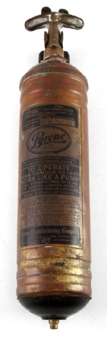 ANTIQUE PYRENE FIRE EXTINGUISHER & WALL MOUNT