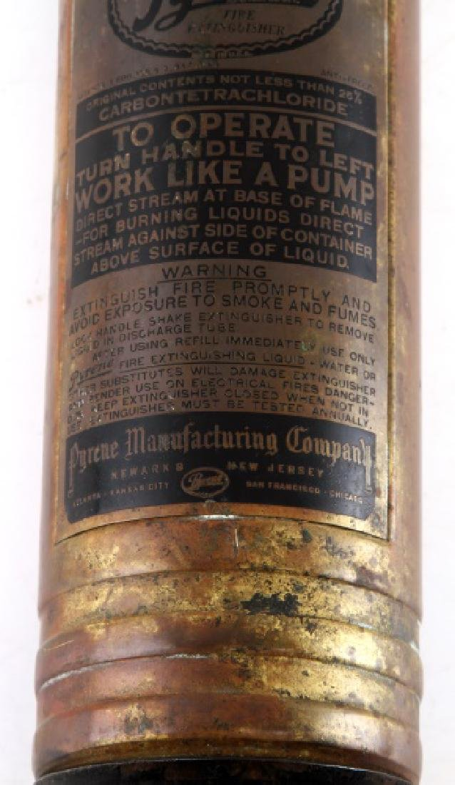 ANTIQUE PYRENE FIRE EXTINGUISHER & WALL MOUNT - 3