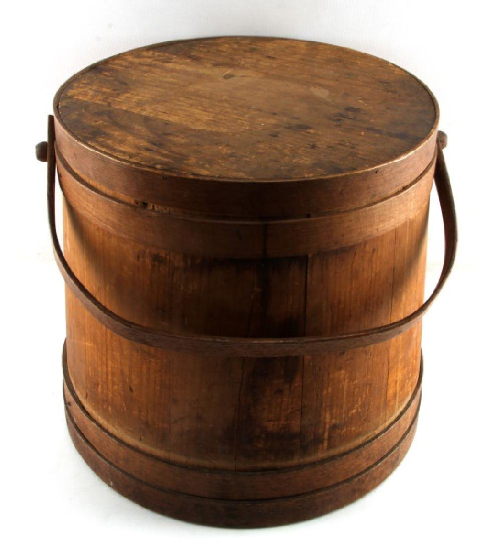 19TH CENT SHAKER KITCHEN PAIL BUCKET FIRKIN W LID - 2