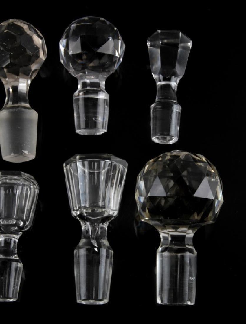 VINTAGE GLASS CRYSTAL WINE DECANTER STOPPER LOT - 4