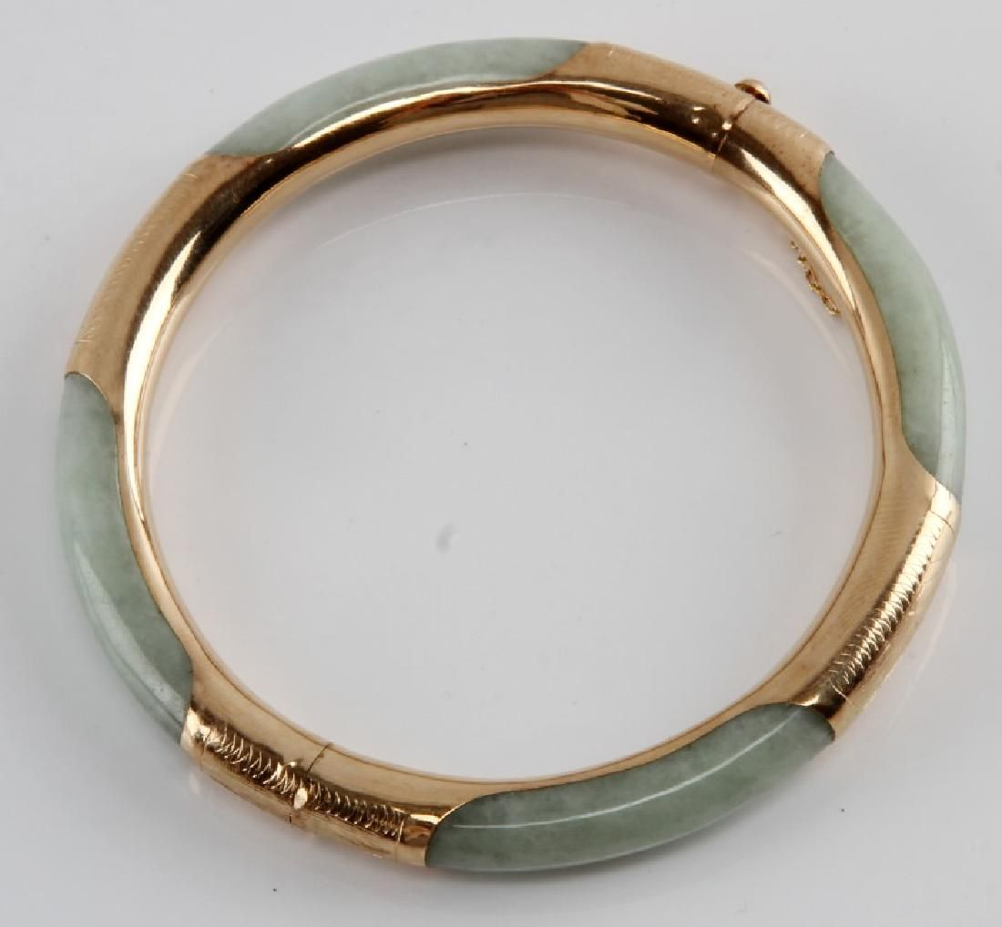 JADE BANGLE WITH 14KT GOLD OVER SILVER