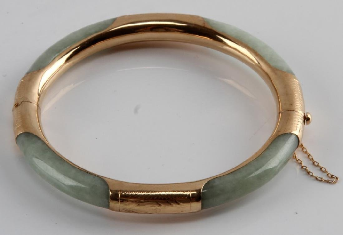 JADE BANGLE WITH 14KT GOLD OVER SILVER - 2