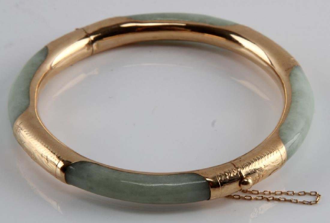 JADE BANGLE WITH 14KT GOLD OVER SILVER - 3