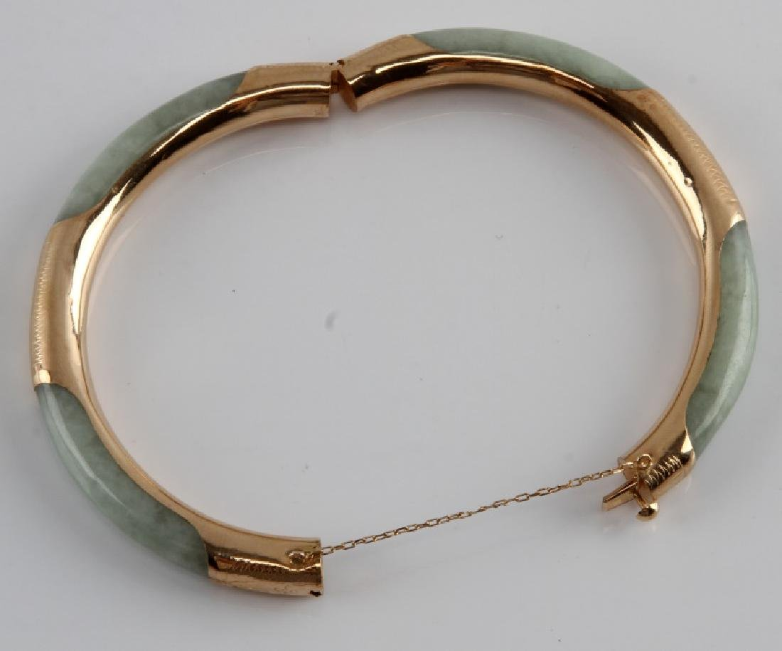 JADE BANGLE WITH 14KT GOLD OVER SILVER - 4