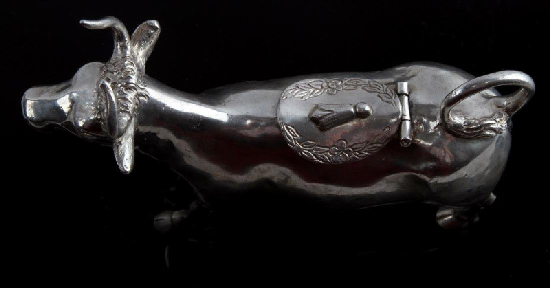 ANTIQUE STERLING SILVER COW SHAPED CREAMER - 4