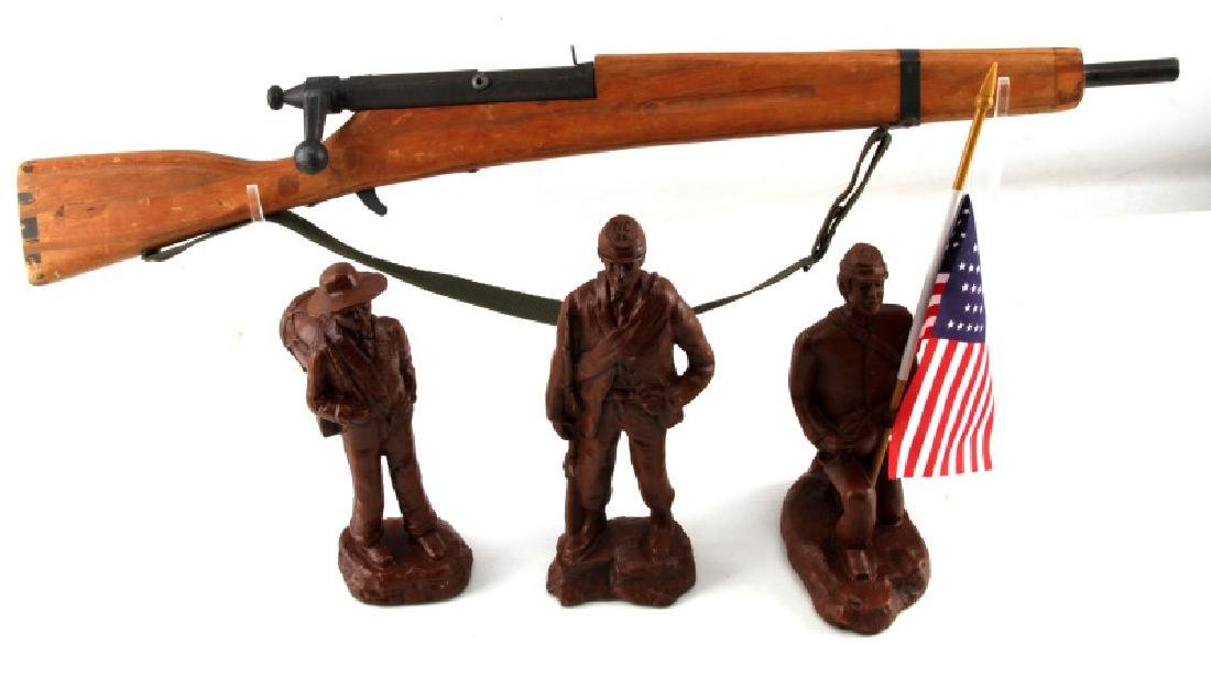 WOODEN TOY CIVIL WAR SOLDIERS AND WOODEN TOY RIFLE