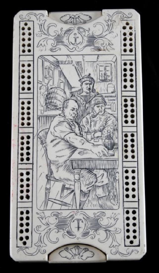 ANTIQUE STYLE FAUX SCRIMSHAW GAMBLING BOARD BOX