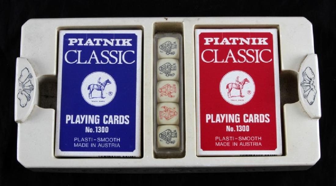 ANTIQUE STYLE FAUX SCRIMSHAW GAMBLING BOARD BOX - 2