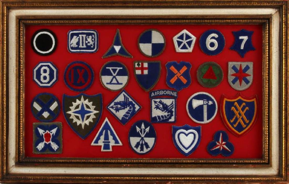 FRAMED ASSORTED WWII US ARMY CORPS PATCH LOT
