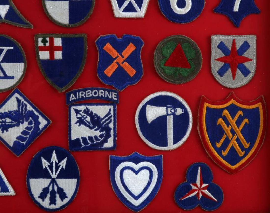 FRAMED ASSORTED WWII US ARMY CORPS PATCH LOT - 3