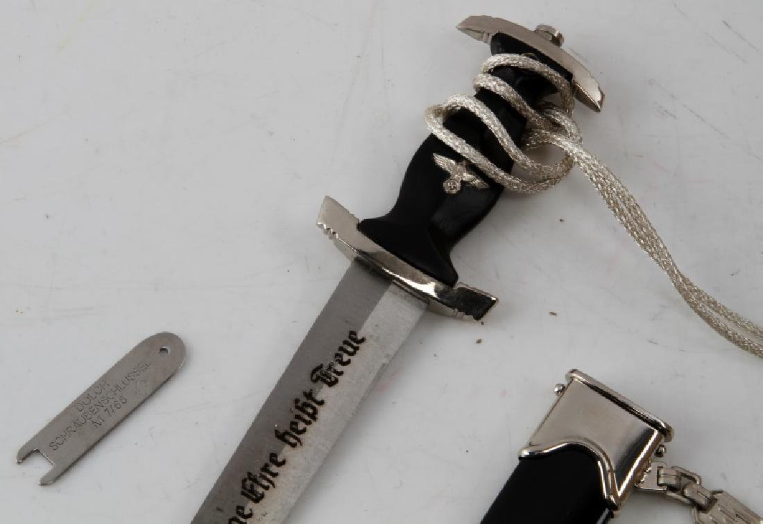 GERMAN WWII MINI SS DAGGER WITH SCABBARD HANGER - 2
