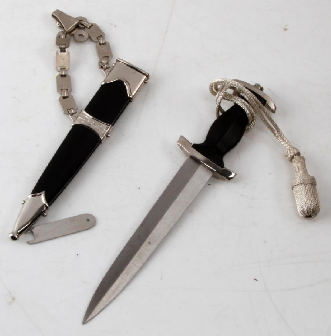 GERMAN WWII MINI SS DAGGER WITH SCABBARD HANGER - 3