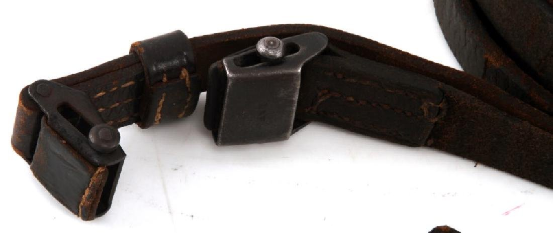 3 GERMAN WWII THIRD REICH K98 LEATHER RIFLE SLINGS - 3
