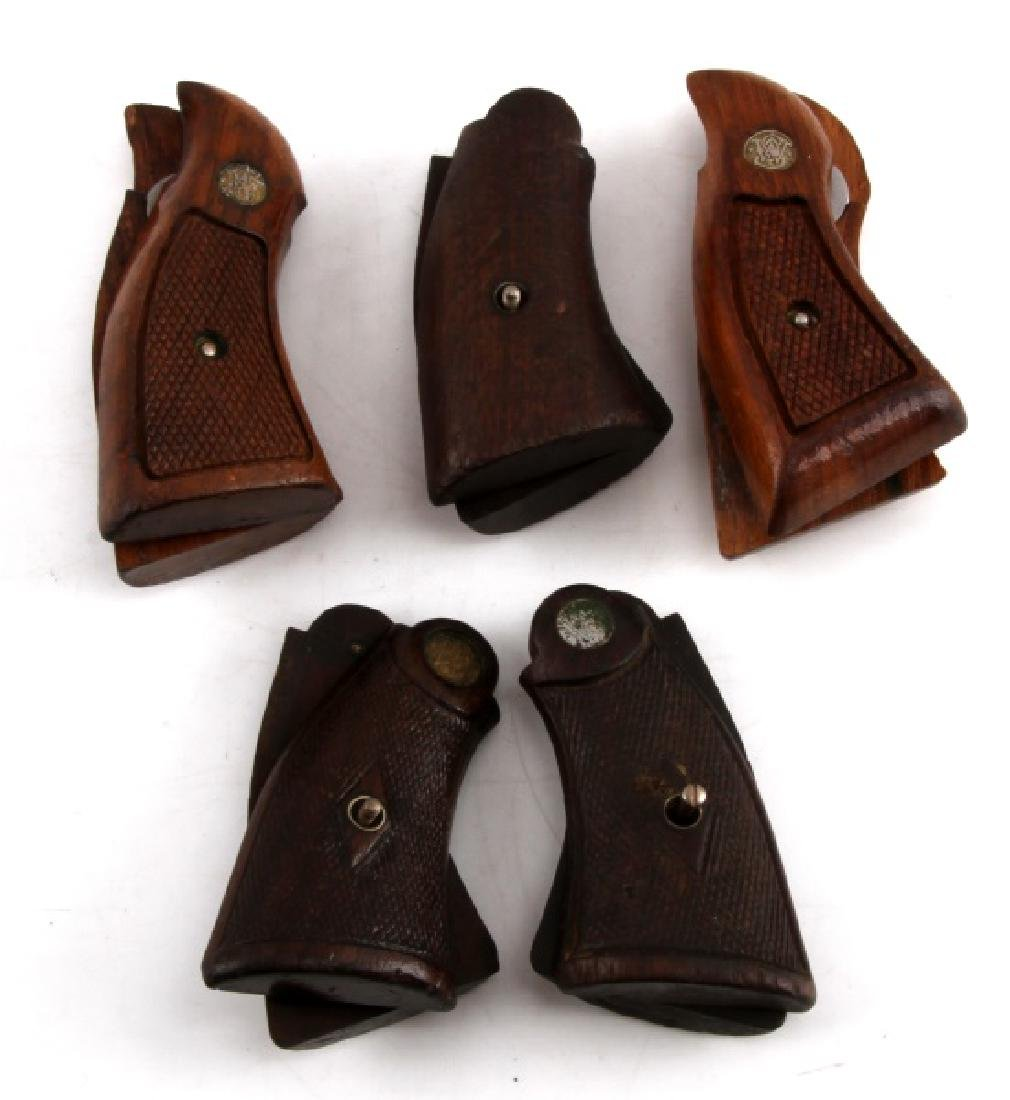 GROUPING OF 5 SMITH & WESSON WOODEN REVOLVER GRIPS