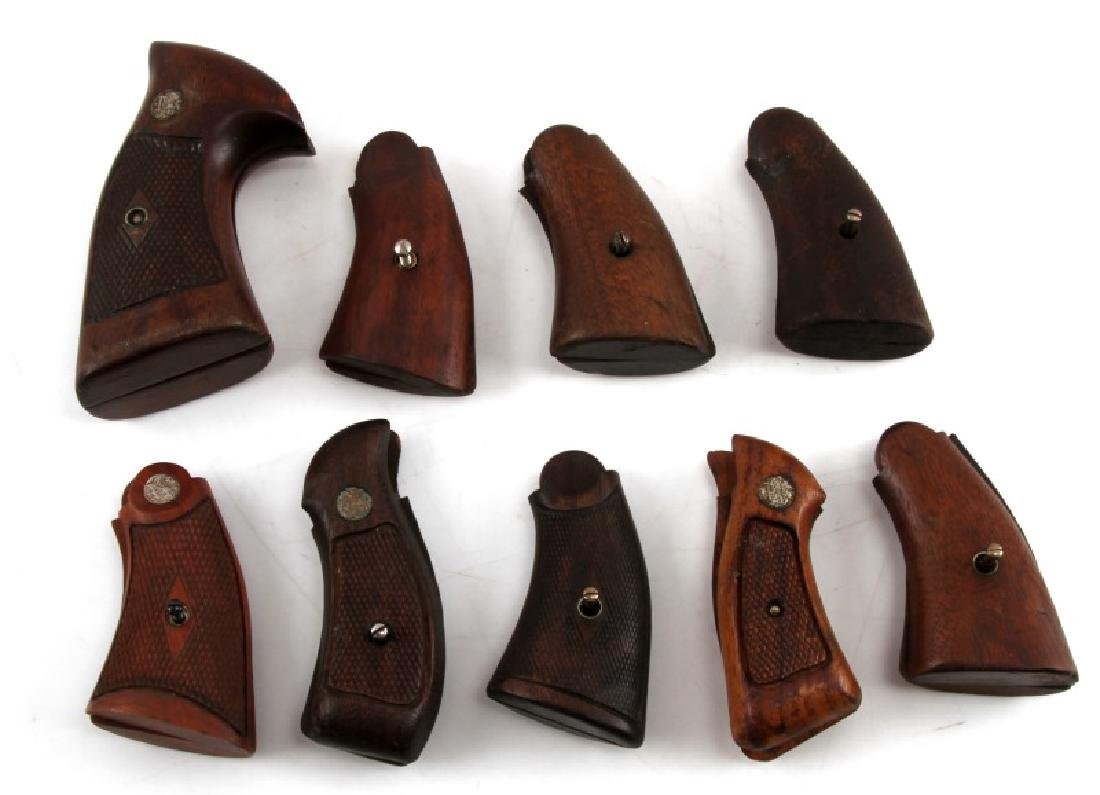 LOT OF 9 SMITH & WESSON WOOD REVOLVER GRIPS