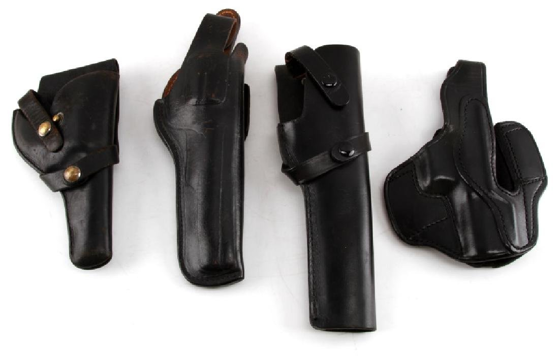 PISTOL AND REVOLVER BLACK LEATHER HOLSTER LOT OF 4