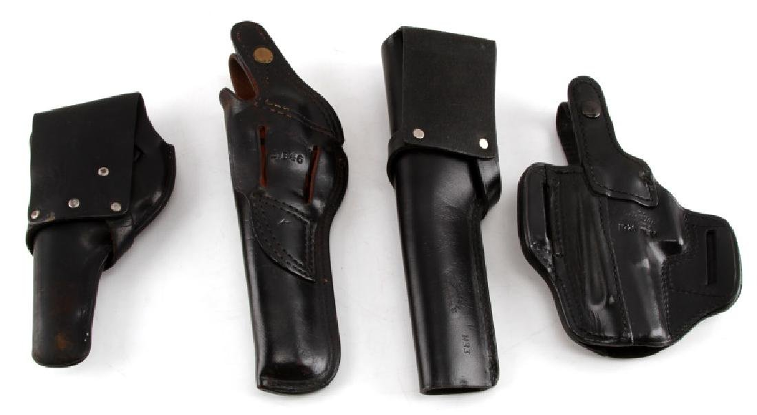 PISTOL AND REVOLVER BLACK LEATHER HOLSTER LOT OF 4 - 2