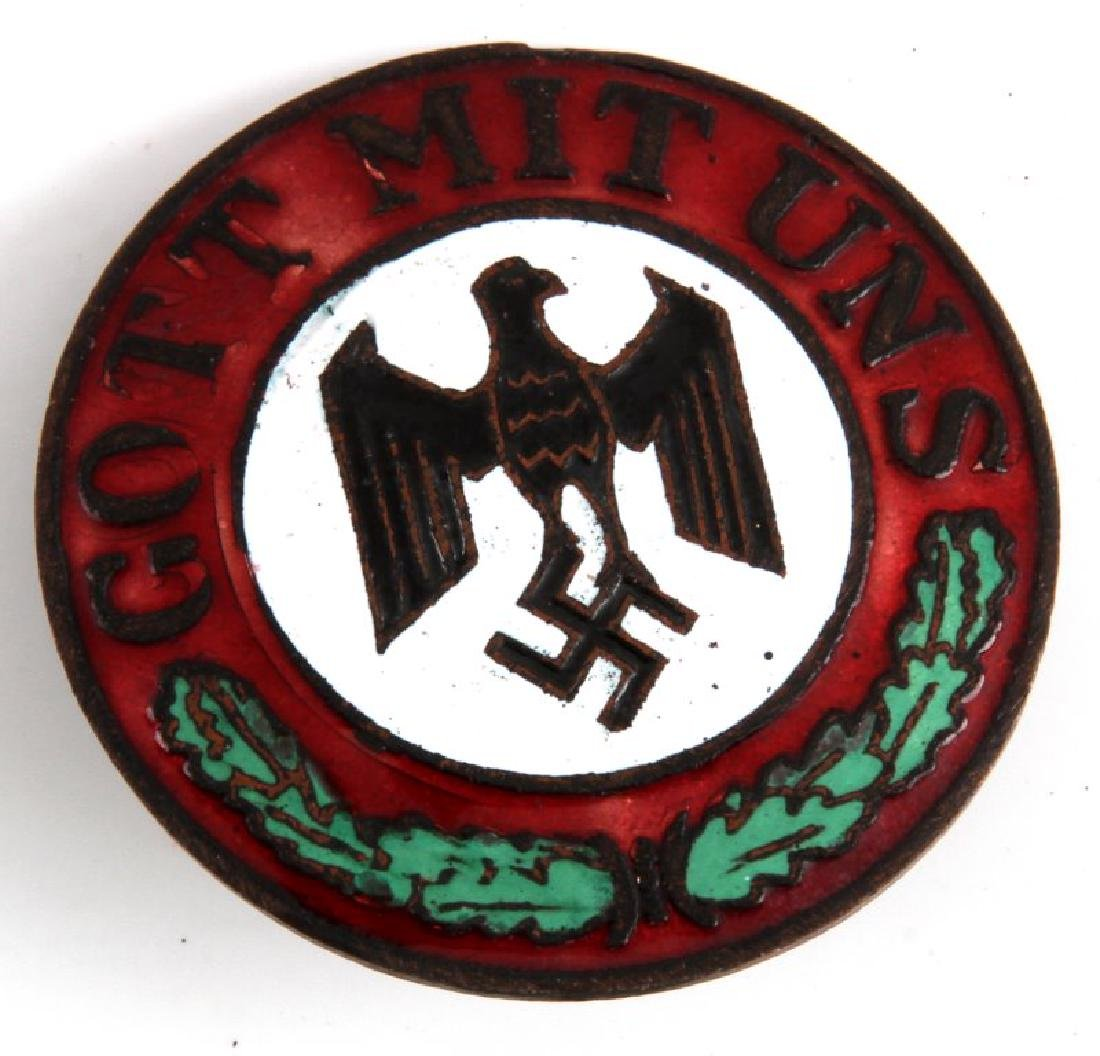 WWII GERMAN THIRD REICH GOTT MIT UNS ENAMEL BADGE
