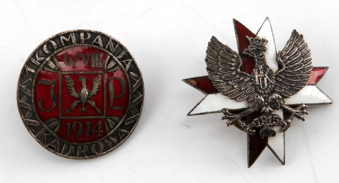 WWI POLISH WWI POST WAR MILITARY BADGE LOT OF TWO