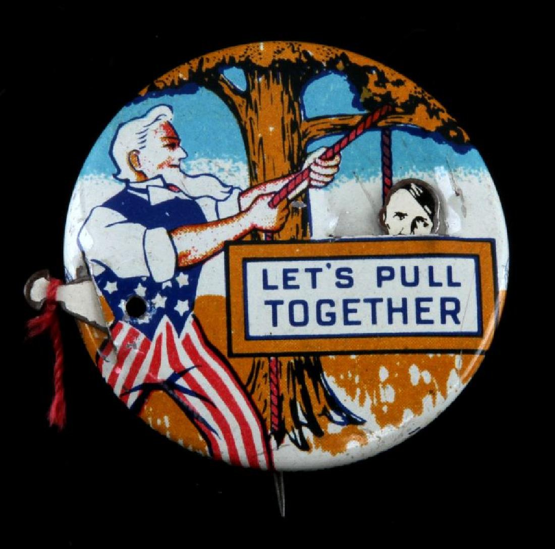 WWII US PULL TOGETHER NOVELTY HANG HITLER BUTTON
